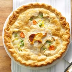 Chicken Potpie Recipe - Easy for a pot pie; cut back on the butter, added a little olive oil when sauteing the onion to cut calories.  Also used frozen cubed potatoes to cut time.  Excellent.