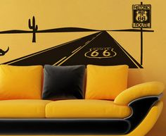 Route 66 Themed Home Decor Accessories Carol Burkes- love the wall art! Funky Furniture, Solid Wood Furniture, Living Room Art, Living Room Designs, Route 66 Decor, Diner Decor, Guest Room Decor, Shabby Home, Vinyl Wall Decals