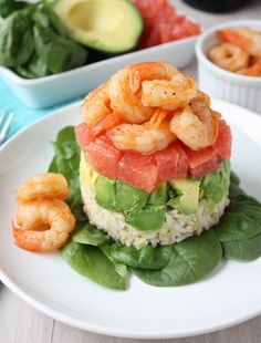 GRAPEFRUIT, AVOCADO & SHRIMP SALAD  Drizzled with a balsamic reduction.