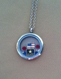 South Hill Designs large silver plain locket with flag, us army charm 2 red crystals, white and blue. As shown: $66. You can add more charms, change it up! Design yours today. Click on photo. shdcharmed@yahoo.com