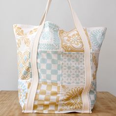 Textileria Cotton BAG - Mint/Old Gold.  Love the patterns and colors!