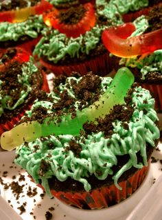 Dirt Worm Cupcakes - made using the Black Magic Cake recipe, a butter cream frosting with green food coloring, a Wilton grass tip, crushed Oreos and gummi worms. #food #recipe #halloween #thanksgiving #BlackMagicCake
