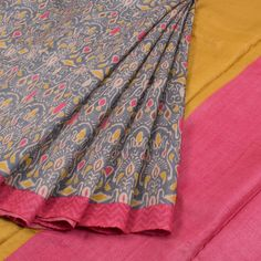 Hand Block Printed Tussar Silk Saree With Floral Motifs 10021443 - AVISHYA.COM