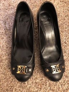 Tory Burch Natalya Black Leather Gold Logo Wedge Heel Size 9
