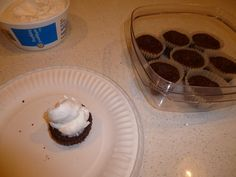 I added nuts to this batch of Low Carb, High Protein Cupcakes and under baked them a bit. The result? Cupcake Brownies! Yum! Add a dollop of Cool Whip and double yum!