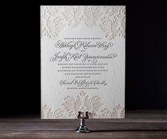 Letterpress Wedding Invitations | Damask Design | Bella Figura Letterpress