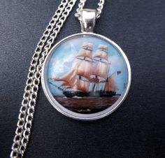 Beautiful Ship at Sea Image Glass Cabochon by LilliRoseCreations, £5.00