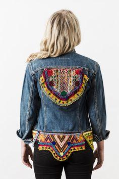 Denim and Bone festival embellished vintage denim jacket