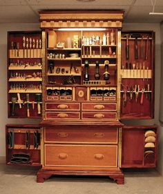 There is plenty of room for everything. The lower level holds powertools that dont get used much. All the little storage racks took several weekends to get right. - CLICK TO ENLARGE