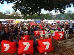 red beanbags at Paniyiri festival