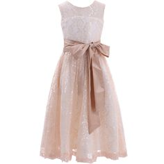 Sheer Top Lace Flower Girl Dress with Taffeta Sash Junior Bridesmaid Dress (10, Champagne)