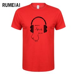 RUMEIAI 2017 New Mens Summer Brand Tops Tees Short Sleeve t shirt Man large Size headset Printed Cotton t-shirt Free shipping #Affiliate