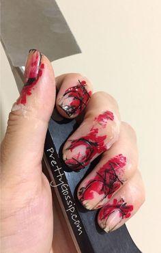 Страшный дизайн ногтей на хэллоуин - кровавый маникюр (50 фото) Этот праздник с каждым годом становится все популярней, актуал...  #маникюр #ногти #страх