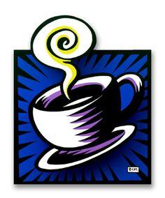 Coffee Cup, by Burton Morris Art Lessons, Framed Art, Drawing Borders, Painting Illustration, Coffee Art, Art, Life Art, Movie Art, Modern Pop Art
