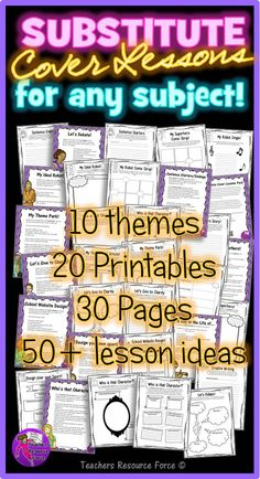 Substitute Cover Lesson Ideas for teens - no prep, ready to use, suitable for any subject!  So, you're sick? Off on a course? Out on a field trip? Or maybe you are the substitute teacher and no cover work has been set, or the students are feeling less than inspired by the work. Either way, there is always the hassle of setting inspiring cover work to keep the students on task and interested while still making the lesson worthwhile.