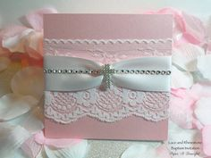White lace & satin ribbon are wrapped around shimmer cardstock giving this invitation a beautiful and simple design. A string of rhinestones & our double rowed rhinestone cross adds to the elegance of the invitation. The inside opens to reveal the details of your childs' Baptism, Christening or First Communion. There is even enough room to include a scripture verse or short poem of your choosing.