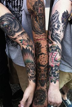 mikeadamstattoo: three sleeves ive done/working on all at the same place at the same time; ive done all the tattoos on their arms.