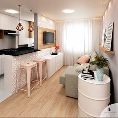 Let's discuss how to create a small apartment design to best saving space into a comfortable residence. Our team has explored it to share inspiration Condo Interior Design, Small Apartment Design, Small Apartment Living, Small Room Design, Home Living Room, Small Living, Condo Design, Deco Studio, Furniture