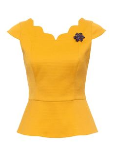 Stretch cotton waffle circular peplum blouse with cap sleeves and centre back invisible zip. love the brooch too!