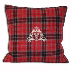 Paoletti Vald`isere Tartan Check Stag Cushion Cover, Cranberry, 43 x 43 Cm