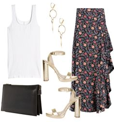 Dress up a basic tank with a ruffled skirt and metallic platforms for date night or a GNO.