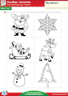 """Goodbye, Snowman"" - Cut & Paste Christmas Worksheet from Super Simple Learning. #preK #kindergarten #ESL"