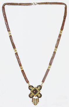 Gold Plated and Faux Garnet,Citrine and Emerald Studded Mangalsutra with Gorgeous Pendant ( Metal And Stone) Married Woman, Garnet, Emerald, Fine Jewelry, Gold Necklace, India, Dolls, Beads, Stone