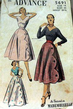 Advance 5691 Blouse & Skirt 1951 Sz14/32/26.5/35 c/c sld 21.5+1.99 11bds 1/29/15
