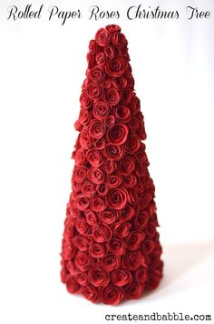 Rolled Paper Roses Christmas Tree by createandbabble.com. A Silhouette tutorial.