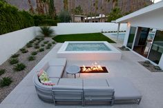 Tropitone's Cabana Club Modular Seating at a home in Palm Springs. Outdoor Fire, Outdoor Living, Summer Teacher Outfits, Custom Pools, Outdoor Furniture Sets, Outdoor Decor, Cabana, Palm Springs, Swimming Pools