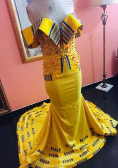 Vohni Couture @vohni_designer Best African Dresses, African Fashion Dresses, Fashion Outfits, Venda Traditional Attire, Seshoeshoe Dresses, African Weddings, Traditional Wedding Dresses, Clothing Styles, Peplum Dress