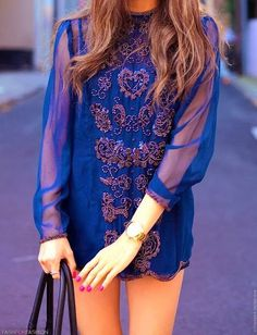 Blue Embroidered Blue Chiffon Dress