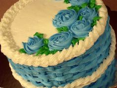Basketweave cake with blue flowers