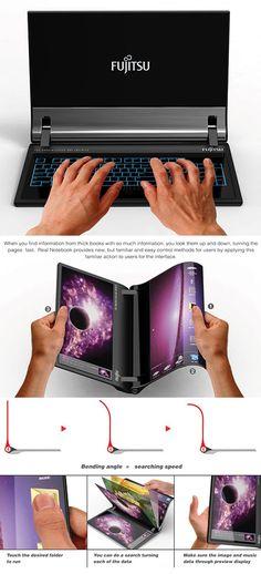 "Futuristic Fujitsu ""Real Notebook"" Can Be Used Just Like a Book - TechEBlog"
