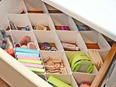 Use Drawer Dividers  Large drawers are great for storing paperwork, but small desk items should be separated into small sections with drawer dividers to help keep everything organized.