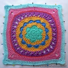 Block a Week CAL Odyssey Free crochet granny afghan square pattern on lookatwhatimade