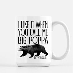 Big Poppa Mug Notorious Big Coffee Mug Gangster Rap Funny Mugs Funny... ($17) ❤ liked on Polyvore featuring home, kitchen & dining, drinkware, grey, home & living, ceramic coffee cups, fathers day mugs, ceramic coffee mugs, ceramic mugs and birthday mugs
