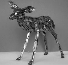Amazing Animal Sculptures Created with Welded Flatware - by Gary Hovey