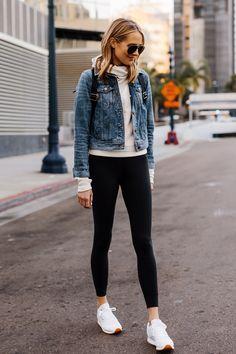 6559950ac745eb Fashion Jackson Athleisure Outfit Denim Jacket Grey Sweatshirt Black  Leggings Reebok Classic White Sneakers 2 Black