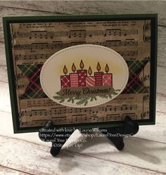 Christmas Card, Classic Christmas Card, Handmade Card, Candles, Pine Branches, Rustic Card, Music, Stampin' Up! Merry Patterns Card by LaurelTreeDesignCo on Etsy