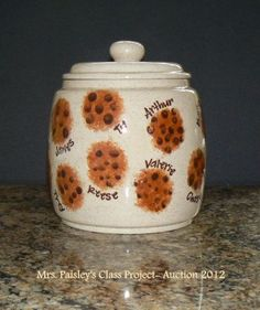 Cookie Jar Class Project: Chocolate chips are thumbprints of students - cute!