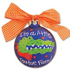 Gator ornament..change to gamecocks and it's adorable :)