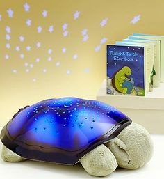 Twilight Turtle- projects a complete starry night sky onto the walls and ceiling, in your choice of color. Comes with illustrated Star Guide to help your children identify 8 major constellations within the Twilight Turtle's star pattern $39.99