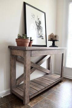 80 easy diy console table great choice for your home 8 - coodecors Do It Yourself Sofa, Rustic Console Tables, Rustic Table, Farmhouse Sofa Table, Farmhouse Decor, Console Table Styling, Farmhouse Ideas, Diy Casa, Diy Rustic Decor