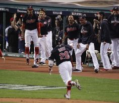 The Latest: Cubs win first World Series title since 1908 Cleveland Indians' Rajai Davis celebrates after his two run home run against the Chicago Cubs during the eighth inning of Game 7 of the Major League Baseball World Series Wednesday, Nov. 2, 2016, in Cleveland. (AP Photo/Charlie Riedel)