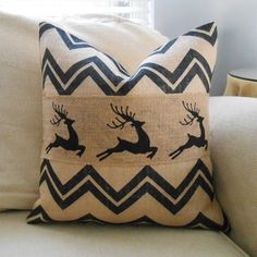 Chevron reindeer burlap pillow cover 18x18 Christmas decor