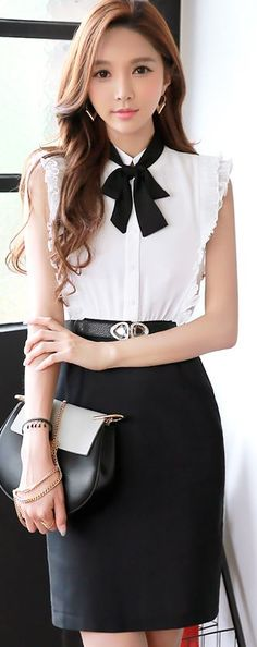 StyleOnme_Ribbon Tie Front Ruffle Detail Sleeveless Dress #elegant #cute #dress #white #black #ribbon #ruffle #koreanfashion #kfashion #summer