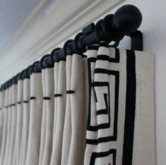 contrast top tack window treatment by amy meier Cream Curtains, Curtains With Blinds, Burlap Curtains, Bedroom Curtains, Custom Curtains, Drapery Designs, Drapery Ideas, Curtain Ideas, Curtain Styles