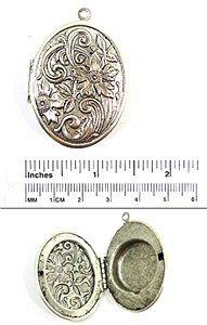 Oval Perfume Locket | Florentine Antique Silver | 1 locket