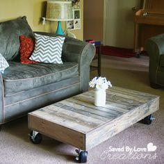 Repurposed Wood Pallet Furniture; DIY Coffee Table @savedbyloves